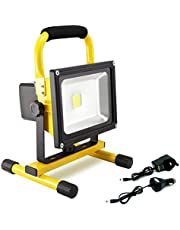 Hirosa Portable Rechargeable Cordless LED Work Light FloodLight IP65 Waterproof Emergency Light Security Lights Built-in Li-ion Batteries with Stand for Car Traveling Camping Fishing