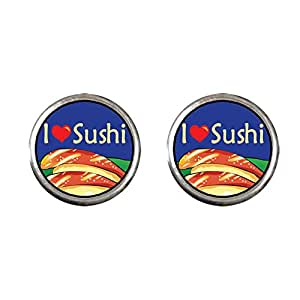 Chicforest Silver Plated I Heart Sushi Photo Stud Earrings 10mm Diameter