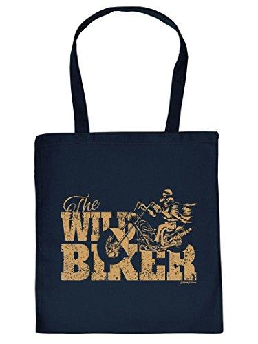 Biker Tote Bag Henkeltasche Beutel mit Aufdruck Tragetasche Must-have Stofftasche Geschenkidee Fun Einkaufstasche
