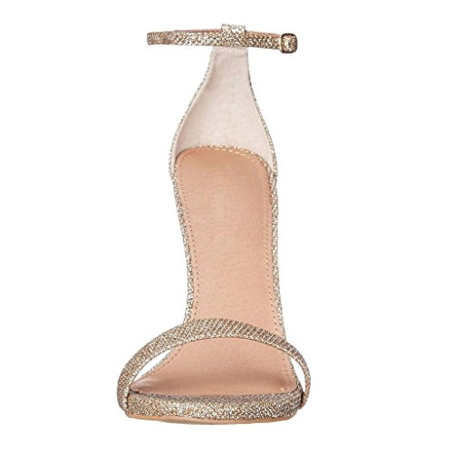 Kolnoo 10cm Stiletto Peep Toe Schnalle Sandalen Knöchelriemchen Strap Damenschuhe Golden