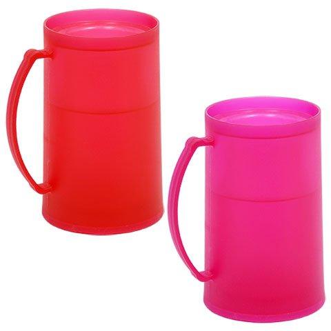 (Double-Wall Pink and Red Freezable Plastic Mug)