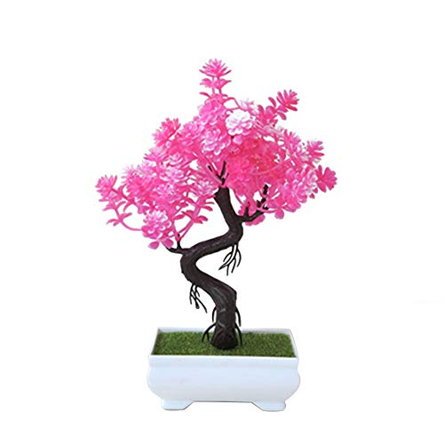 Whthteey Bonsai Tree Decorative Artificial Plant Faux Potted Plant Office Home Decor (Pink) by Whthteey