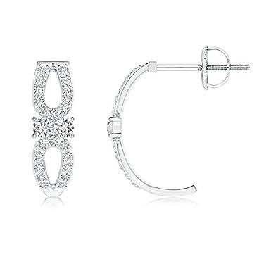 Angara Open Pear Framed Two Stone Diamond J Hoop Earrings ZSjwmtcx