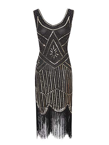 ECOPARTY Women 1920s Gatsby Sequin Fringed Paisley Flapper Costume Dress V Neck (XXL, Gold-Black(Gray Beads))