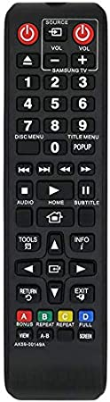 MYHGRC Reemplazo Mando a Distancia para Samsung AK59-00149A para Samsung DVD BD BLU-Ray-No Requiere configuración Mando a Distancia aplicable BDF5100/ZA BD-ES5300 BD-FM51