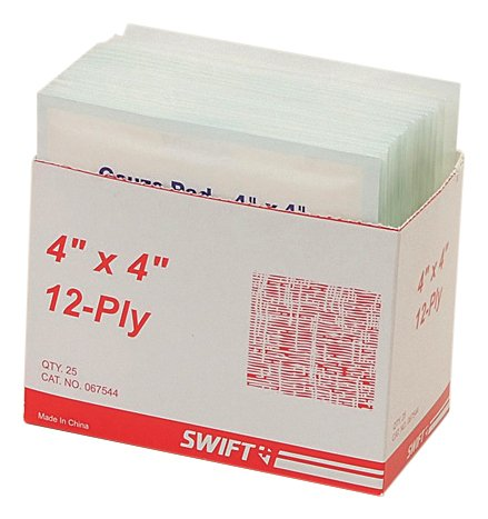 North by Honeywell 067544 Gauze Pads, 4-Inch x 4-Inch 12 Ply, 25 per box ()
