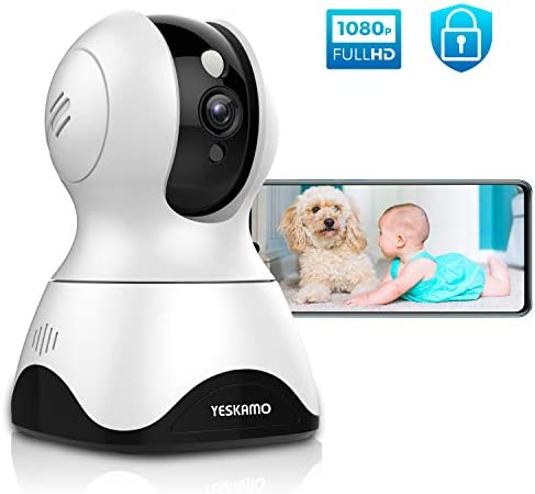 YESKAMO Dog Camera Pet Monitor 1080P HD Home WiFi Security Camera Wireless, Indoor Pan Tilt Zoom IP Camera for Dog Pet Elder Baby, 2 Way Audio, Full Surveillance Motion Tracking, Work with Alexa