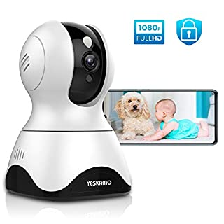 YESKAMO Dog Camera Pet Monitor 1080P HD Home WiFi Security Camera Wireless, Indoor Pan Tilt Zoom IP Camera for Dog/Pet/Elder/Baby, 2 Way Audio, Full Surveillance & Motion Tracking, Work with Alexa