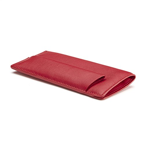 Reading Glasses & Pen Pouch - Full Grain Leather Leather - Red Apple (red)