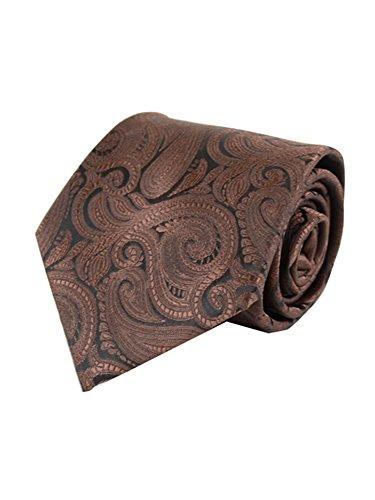 Pink Brown Paisley - Men's Brown Paisley 100% Microfiber Poly Woven Wedding Neck Tie