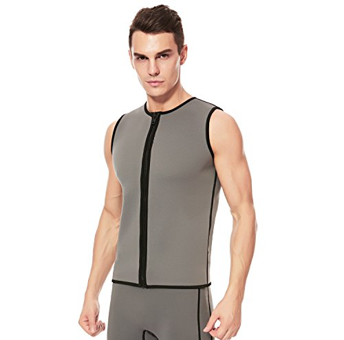 Flexel Diving Vest Mens Wetsuit Top Premium Neoprene for Swimming Snorkeling Scuba Diving Fishing Water Sports XSPAN Zipper Surfing Suit (2mm Grey, Large)