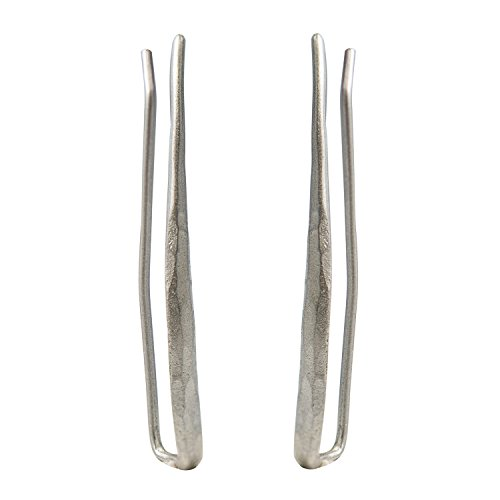 CIShop Chic Hammered Finish Silver Ear Cuff Earrings Stud Ear Climber Crawler Earrings 1Pair (hypoallergic) (Silver Hammered Cuff)