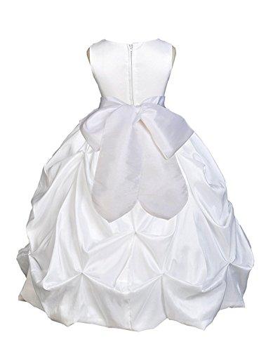 ompson Wedding Pageant White Bubble Taffeta Flower Girl Dress Baptism Communion 10