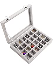 Kurtzy Grijs Velours Sieraden Ringen Display Doos (24 Vaks) – L20,2 x B15,1 x H4,6 cm – Slot Organizer Bak Doos met Glazen Deksel – Houder voor Ringen, Oorbellen & Armbanden