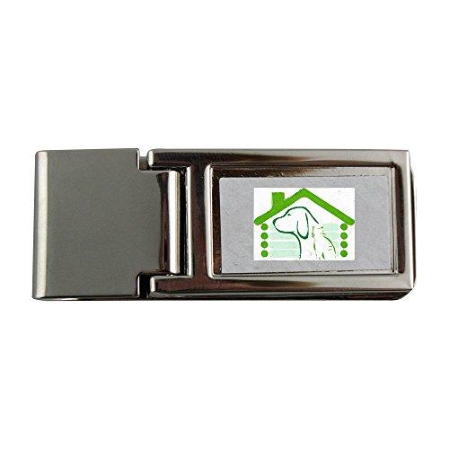 Fermasoldi in metallo con l immagine di un cane e un gatto in un verde casa