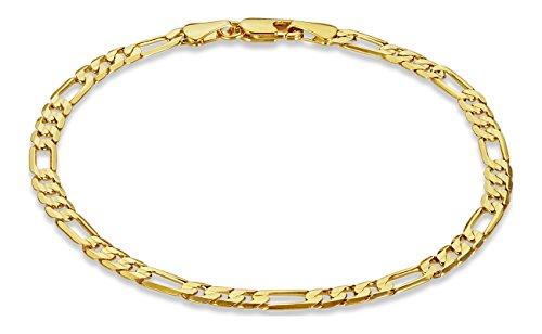 The Bling Factory 4mm 14k Gold Plated Figaro Bracelet, 7