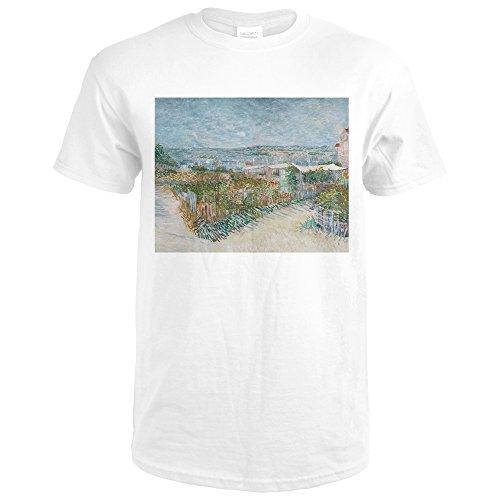 Montmartre De Galette Moulin La (Lantern Press Montmartre: Behind The Moulin de LA Galette - Masterpiece Classic - artist: Vincent Van Gogh c. 1887 (Premium White T-Shirt XX-Large))