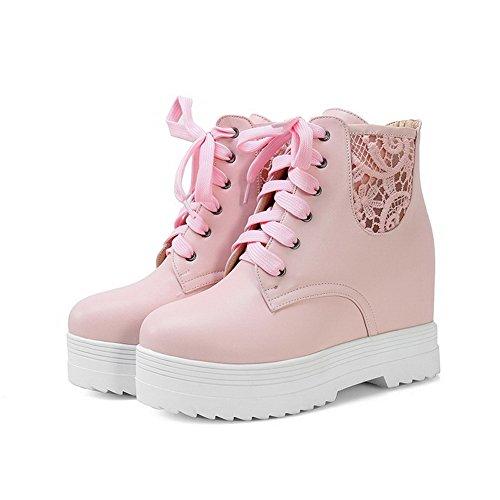 AllhqFashion Damen PU Mittler Absatz Rund Zehe Schnüren Stiefel Pink