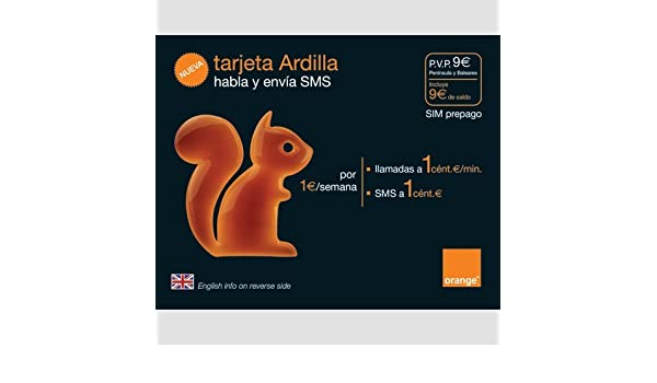 Orange Ardilla - Pack SIM tarjeta prepago: Amazon.es ...