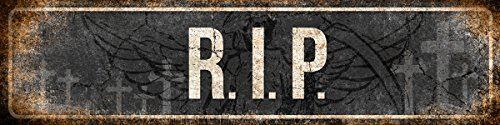 RIP Rest in Peace Halloween Decor Metal Sign 4x18 inch]()