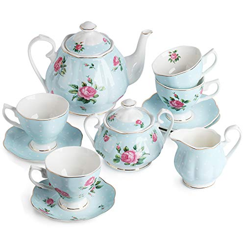 BTäT- Floral Tea Set, Tea cups (8oz), Tea Pot (38oz), Creamer and Sugar Set, Gift box, China Tea Set, Tea Sets for Women, Tea Cups and Saucer Set, Tea Set for Adults, 4 Tea Cups Set, Porcelain Tea Set