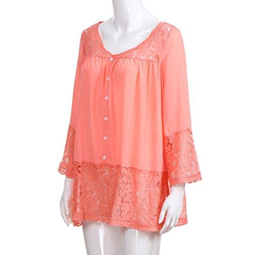 Dentelle Femmes Bouton Shirts Trois T Orange en Chemisier Chic V Blouse Dentelle Quarts Hauts LaChe Cou Mode VJGOAL wtxHw