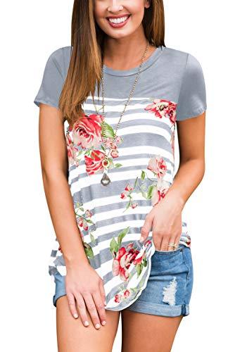 - Womens Short Sleeve Summer Tee Tops Floral Print Blouses Grey 2XL