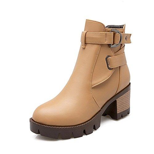 BalaMasa Ladies Studded Rhinestones Metal Buckles Chunky Heels Imitated Leather Boots Apricot