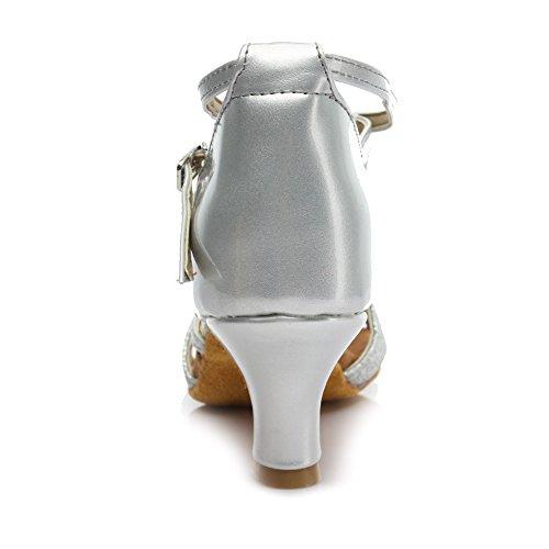 HROYL Zapatos de baile/Zapatos latinos de satín mujeres ES7-F55 5CM Plateado