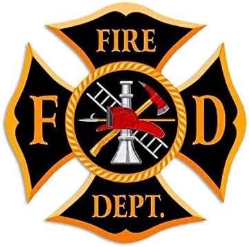 MAGNET LARGE Black /& Gold FD Fire Department Maltese Shaped