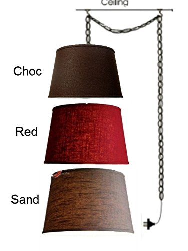 Upgradelights All Natural Belgium Linen Portable Plug in Swag Lamp Light Fixture