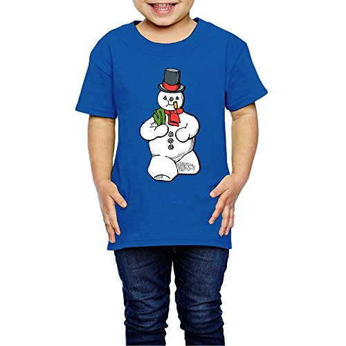 Snowman Children's Comfortable Casual 100% Cotton Not Shrink Short Sleeve Round Collar Boy Shirt Casual T-shir 2T-6T