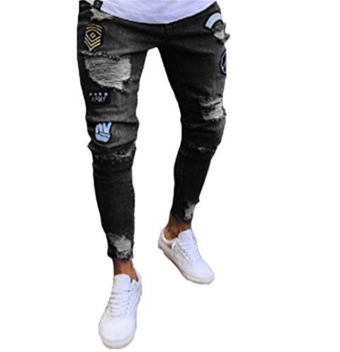 Denim Skinny Con Nastrati Nero Casual Strappati Motociclista Jeans Zip Uomo Da Pantaloni Huixin Sportivi In qYFOw