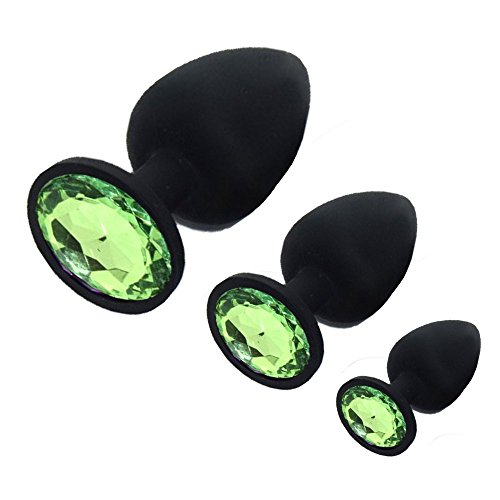Haipat Black Silicone Jeweled Butt Plugs Anal Plug Aquamarine Jewel Sex Fetish BDSM Toys For Women Men Couples (S+M+L) Green~3 Pcs by Haipat