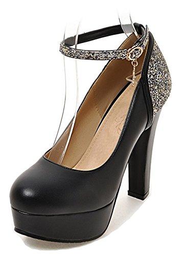 Aisun Womens Glitter Paillettes Dressy Chunky Tacco Alto Con Fibbia Punta Tonda Piattaforma Pompe Scarpe Con Cinturino Alla Caviglia Nero