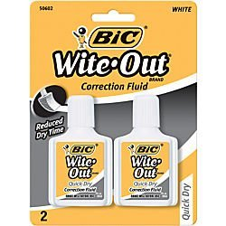 - Bic Wite-Out Quick Dry Correction Fluid - 2 pack - white color writeout - white-out