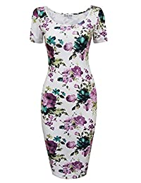 Tom's Ware Womens Slim Fit Sweetheart Scoop Neck Short Sleeve Midi Dress