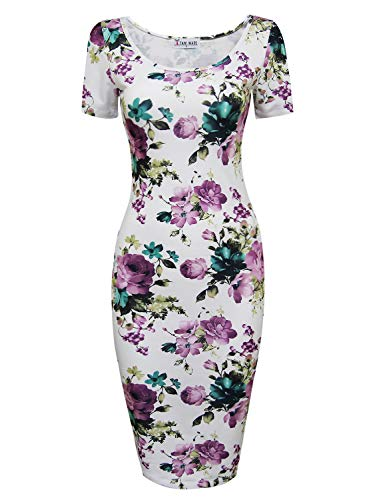 Tom's Ware Women's Scoop Neck Floral Short Sleeve Knee Fitted Dress, Whitepurple, X-Large