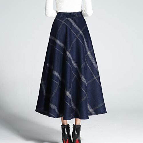 1462/5000 Femmes Taille Haute Automne Hiver Plaid Pliss Chaud paisse Laine Laine Jupe Longue Jupe Dcontracte A-Ligne Blue