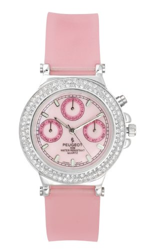 Peugeot Women's 328PK Silver-Tone Swarovski Crystal Accented Multi-Function Pink Rubber Strap Watch -
