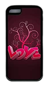 Customized Case 3D heart and tree TPU Black for Apple iPhone 5C