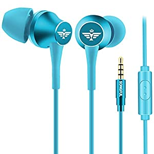 AFUNTA Earbud Headphone, Stereo in-Ear Earphone 3.5mm with Microphone Clear Sound Noise Isolating Ergonomic Comfort Fit Compatible Cell Phone iPhone Samsung Sony iPad Laptop PC – Blue