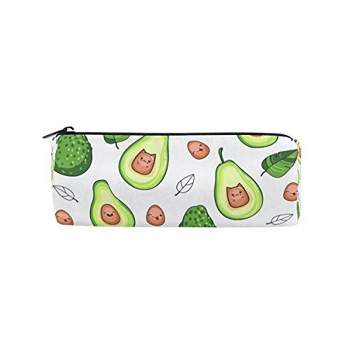 Round Pencil Case Bag Avocado Multi FunctionSchool Supplies Organizer Pouch Bag with Zipper Closure