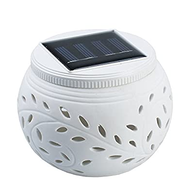 HOSHINE Solar Powered Ceramic Decoration LED Lamp Light Outdoor Garden Pathway - No Installation, Weatherproof can be deployed in poolside, garden, outdoor table