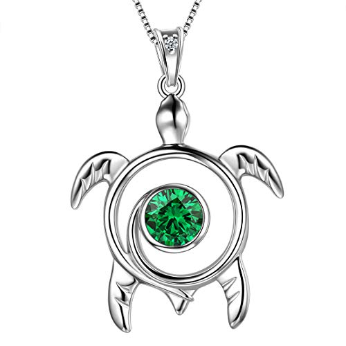 Aurora Tears Green Turtle Necklace Celtic Spiral 925 Sterling Silver May-Emerald Sea Animal Viking Swirls Turtle Pendant Women Birthstone Ancient Symbol Crystal Cute Jewelry ()