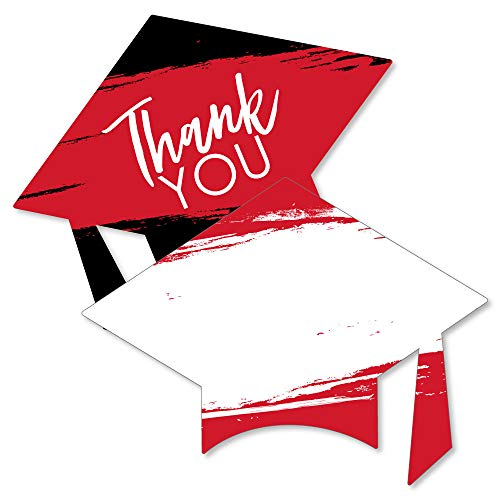 (Red Grad - Best is Yet to Come - Shaped Thank You Cards - Red Graduation Party Thank You Note Cards with Envelopes - Set of)