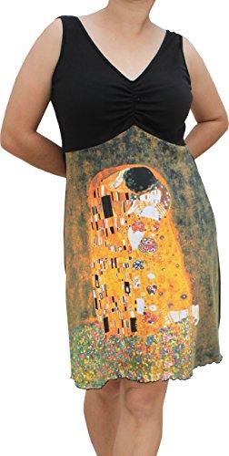 Raan Pah Muang Gustav Klimt The Kiss Black Bust Dress, Medium