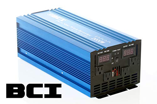 Bear Claw Industries 2000 Watt Pure Sine Wave Inverter / 12VDC to 110VAC (Best Inverter And Battery Combination For Home)