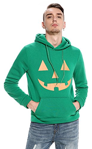 Whatlees Mens Boys Skull Pumpkin Lantern Print Pullover Hoodies for Halloween Gift Coat With Pockets (Los Simpson Halloween 2017 Anime)