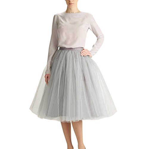 Wedding Planning Women's A Line Short Knee Length Tutu Tulle Prom Party Skirt Small Silver